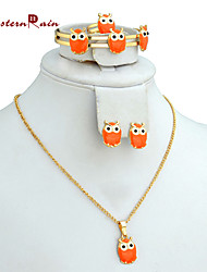 Westernrain gold plated jewelry for Your Girl Orange plated Stone Necklace Set /Children's gift jewelry for kid Baby