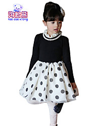 Waboats Winter Kids Girls Long Sleeve Dot Lace Princess Dress
