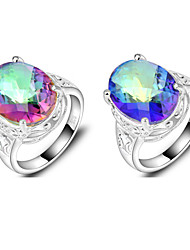 Statement Rings Silver Plated Topaz Oval Red Blue Jewelry Wedding Party Daily Casual Sports 1pc