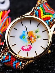 ladies 'round multicolor wijzerplaat patroon textiel touw band mode mooie kwarts armband horloge (willekeurige kleur)