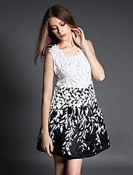 Women's Leaves Printing Casual/Print Inelastic Sleeveless Above Knee Dress (Polyester)