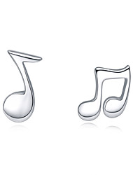Jazlyn Authentic Platinum Plated 925 Sterling Silver Fashion Music Sign Lovers Stud Earrings Fit Kids 0.7x0.5cm