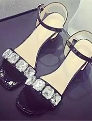 Sandales ( Caoutchouc , Noir/Argent/Blanc ) Gros talon - 3-6cm pour Chaussures femme