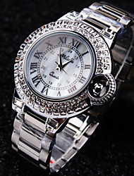 Ladies' Round A Grade Czech Stones Imported Steel Case Dial Mineral Stainless Steel Band Waterproof Quartz Watch