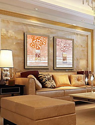 Oil Painting Modern Abstract Flower Hand Painted Natural Linen with Stretched Framed - Set of 2
