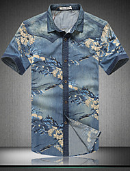 Men's Fashion Print Slim Washed Short Sleeved Denim Shirt