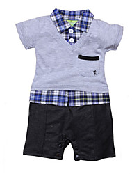 Boy's Cotton Fashion Leisure Lapel Grid Short Sleeve Clothing Set