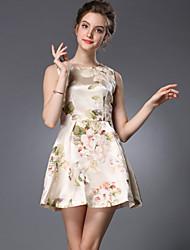 Women's Casual/Print Micro-elastic Elegant Sleeveless Above Knee Dress (Organza/Polyester)