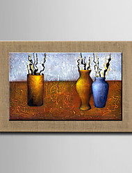 Oil Paintings One Panel Modern Abstract Still Life Flowers Hand-painted Natural Linen Ready to Hang