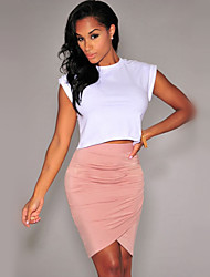 Women's Solid Pink/Black/Green Skirts , Sexy/Bodycon/Casual/Work Asymmetrical Split/Pleated