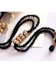 Fashionable joker black long chain bright drill set women act the role ofing is tasted