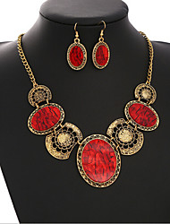 Vintage Style Zinc Alloy And Imitation Crystal Jewelery Set(Earrings & Necklace)