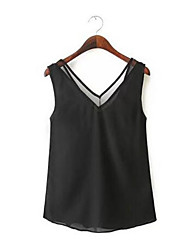 Women's Solid White/Black Blouse , Strap Sleeveless