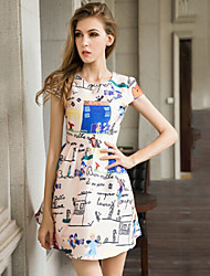 Women's Casual Micro-elastic Short Sleeve Midi Dress (Organza/Satin)