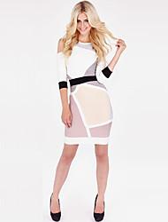 Cocktail Party Boutique Dresses Sheath/Column Scoop Neck/Sexy Lady Mini Spandex/Nylon/Rayon Fashion Women Bandage Dress