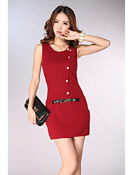 Women's Solid Red Dress , Casual Round Neck Sleeveless Button