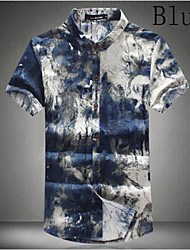 Men's Short Sleeve Shirt , Cotton/Cotton Blend Casual/Work/Formal/Plus Sizes Print