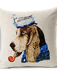 Cartoon Smoking DogCotton/Linen Decorative Pillow Cover