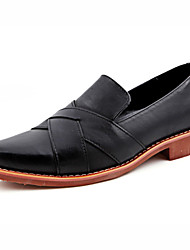 Men's Shoes Leather Casual Loafers Casual Slip-on Black / Burgundy