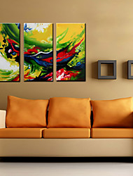 Oil Painting Decoration Abstract Abstract Hand Painted Canvas with Stretched Framed - Set of 3