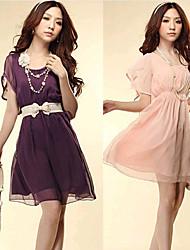 Women's Dresses , Chiffon Beach/Casual/Work Short Sleeve KaMan