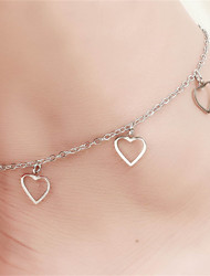 Vilam® Hot Girl Ankle Bracelet Bead Chain Simple Silver Hollowed Heart Anklet Foot Jewelry