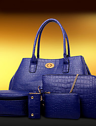 Femme Polyuréthane Formel / Décontracté / Bureau & Travail / Shopping Sac à Bandoulière / Cabas Bleu / Rouge / Noir