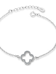 Jazlyn Authentic Platinum Plated 925 Sterling Silver Woman Kids Four Leaf Clover Link Chain Bracelet Gift