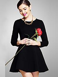 Summer fat lady super-large size seven pendulum fashion new round collar sleeve backing the dress