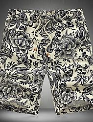 Strand/Informell Rund - Langarm - MEN - Shorts ( Baumwolle )