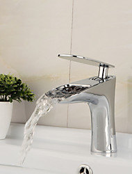 Contemporary Chrome Waterfall Centerset Single Handle Bathroom Sink Faucet - Silver