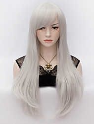 70cm Style Natural Straight Fashion Women Party Wigs Heat Resist Synhtetic Cosplay costume Wig Silver White
