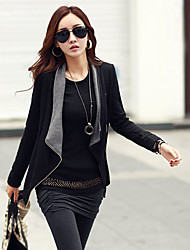 Women's Long Sleeve Cotton Blends Coat , Casual