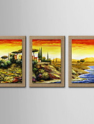 Oil Painting Decoration Abstract Scenery Hand Painted Natural linen with Stretched Framed - Set of 3