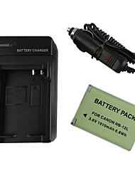 12L 1910mAh Camera Battery + Car Charger for Canon G1X Mark II N100 MINI X
