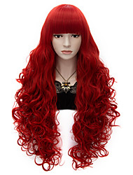 80cm Long Flat Bang Full  Red Curly heat resist Synthetic Cosplay Hair Party Wig