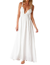 Women's V Neck Spaghetti Strap Beach Maxi Long Dress