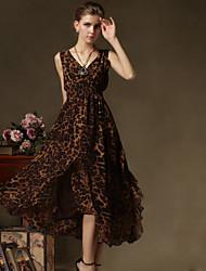 Women's Sexy Cute Plus Sizes Inelastic Sleeveless Midi Dress (Chiffon)