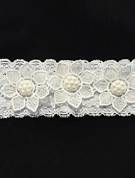 Garter Lace Imitation Pearl Ivory