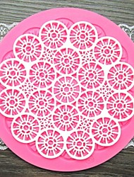 круглый цветок кружева форме помады торт шоколадный силиконовые формы / украшения инструменты
