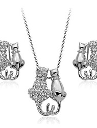 T&C Women's Lovely 18K White Gold Plated Austria Crystal Kitty Cat Pendant Necklace And Earrings Sets