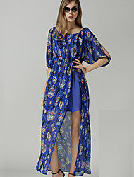Women's Sexy Print Plus Sizes Inelastic ½ Length Sleeve Asymmetrical Dress (Chiffon)