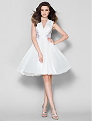homecoming ts alta costura vestido de noche formal - Marfil una línea de cuello en V gasa hasta la rodilla