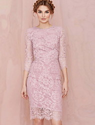 Women's Bodycon/Lace Round ¾ Sleeve Dresses (Lace)