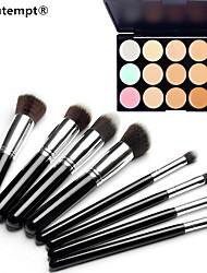 8pcs Silber schwarzen Griff Kosmetik Pinsel-Set&15 Farben Camouflage natürlichen Concealer / Stiftung / bronzer