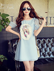 Pink Doll®Women's Round Neck Casual/Print/Lace Loose Dress