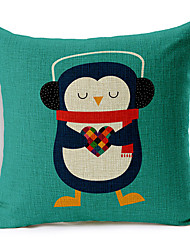 Colorful Balloon Listen to the penguin of the music Patterned Cotton/Linen Decorative Pillow Cover