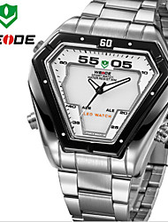 WEIDE Men Luxury Sports Triangle Shape Analog & Digital LED Display Full Stainless Steel Wrist Watch