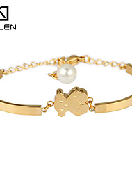 Kalen Jewelry Stainless Steel 18K Plated Lovely Teddy Bear Bracelets