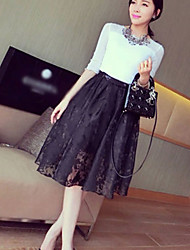 Women's White/Black Skirts , Lace Knee-length